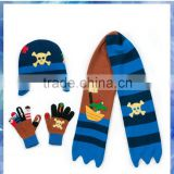 100% acrylic pirate character knitted scarf hat and glove set for boys
