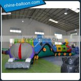 outdoor commercial big train inflatable obstacle courses / giant inflatable train bouncer