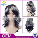 Free lace wig samples synthetic wig body wave artificial full lace monofilament wig with baby hair