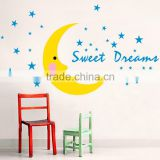 sweet dream vinyl wall sticker moon and stars home decor paper 50*70 cm for baby room free shipping JM8308