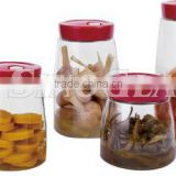SINOGLASS 4 pcs PLASTIC lid EASY HANDLE auto air releasing preserving glass Storage canister jar set