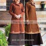 Latest design embroidery bottoms coat wool blend ethnic muslim style button front open abaya 2015