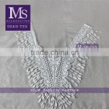 hot sale 2016 fancy polyester fringe collars, embroidery neckline in white color for dye