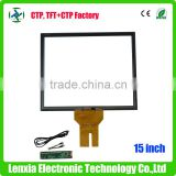 Made in china 15 inch projected capacitive touch screen with glass and glass