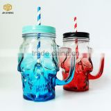 glass drinking cup drinking glass mason jar mug with straws and lid