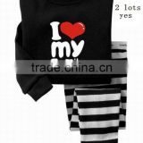 children's hot selling i love my family letter printed cotton pajamas suits baby sleepwears nightgown