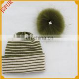 Factory Wool Acrylic Women'S Men'S Striped Fur Ball Pom Beanie Custom Made Bobble Hat