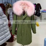 high grade nature patchwork fox fur winter parka wholesale women overcoat turkey