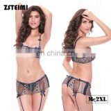 Zhejiang Elastic Bra And Panty 2 Pieces Sexy Mature Women Nightwear