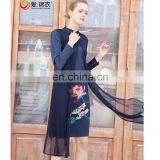 Fashion design luxury long sleeve print women dresses summer vestidos