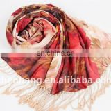 Chinese Style Two Layers Scarf Pure Silk Fabric