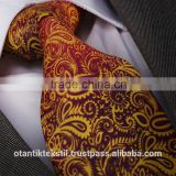 Claret Red Orange Pairsley,Silk tie, necktie, neck tie, corbata, gravate, krawatte, cravatta, fashion tie