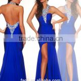 Royal Blue Beaded Backless Halter Ruffle Tight Satin Fashion Split Long Prom Dresses 2014