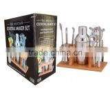Stainless Steel Cocktail Shaker Gift Set mini bar drinks maker with wooden stand                                                                         Quality Choice
