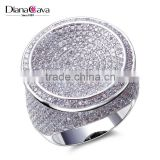 Round Shape CZ Micro Pave Setting Wedding for Bride Very Big Deluxe Statement Ring