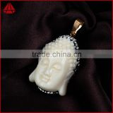 Gun-black spinel gemstone beads 18K gold pendant, pave diamond buddha carving pendant handmade