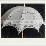 wedding decor wood handle cotton lace parasol from china