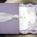 Hot sale high-end elegant silk box purple wedding invitations with silver ribbons & crystalo brooches & laces inside