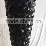 gorgeous decorative fiberglass lacquer vase, 3D cube design in black