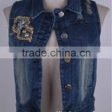 2015 new arrival fashion high quality lady cowboy jean jacket wholesale,sleeveless denim jacket China supplier