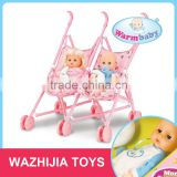 Best selling toys wholesale lovely twin doll baby stroller with plastic cart