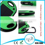 portable travelling hiking partner mini hands free solar power bank charger with hook