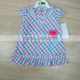 Newest style tops short sleeve for baby girl plaid shirt