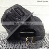 custom hat with leather strap, snap back hats with 3d embroidery logo