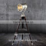 stainless head wooden base floor standing lamps