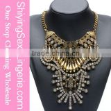 Cheap Gold Filigree Statement Rhinestone pendants for chunky Necklace