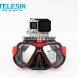 New arrival tempered diving glass mask with tripod mount connection for Go Pro, hot for summer season