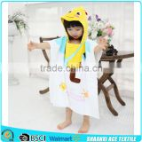 Lovely yellow Bee printed kids hooded beach towel velour printing animal bee kids poncho towel