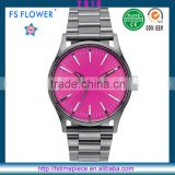 FS FLOWER - Fashion Young Men Mediumviolet Face Gun Color Quartz Stainless Steel Back Watch 3atm Water Resistant