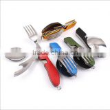 Stainless Steel Foldable Fork Spoon Knife Kit / picnic knife in camping cutlery kit / foldable knife spoon fork set