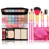 New Arrival 7PCS Rose Makeup Brush Set And Eyeshadow Lipstick Makeup Powder Blusher Makeup Set