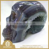 Pure Natural Amethyst Crystal Skull with geode good for collection or home decoration gift