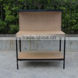 Utility steel frame portable wooden workbench