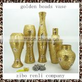 Wedding Decor Fashionable Design Beaded Mosaic Shapes Glass Gold Vases