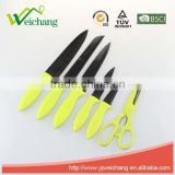 WCK001C 6 pcs set Kitchen Knives with scissors and holder stainless steel blade with PP handle Wholesale