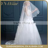 In stock soft tulle satin bridal veil beaded trim With Appliqued Lacework Lace Bridal Veils