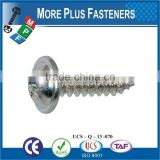 Made in Taiwan DIN 968 C 450 HV BN 14072 Pozi Pan Head Tapping Screws with Collar Form Z and Cone End Type C