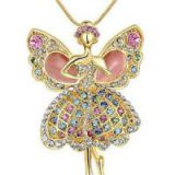 Shiyi Pink Long Chain Necklace Gold Plated Angel-Shaped Jewelry Necklace with Cat Eye MY-00013