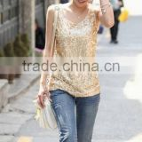 Ladies fashion sequin shirt