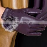 Luxury real leather gloves with cute rabbit fur pom pom
