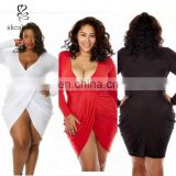 Women 3XL Plus Size Fashionable Summer Sexy Elegant Bodycon V Neck Cocktail Party Long Sleeve Plus Size Dress for Fat Women
