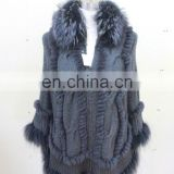 Fad Mode Raccoon Fur Collar Knit Cape Women Fashionable Fur Hood Knitted Shawl Rabbit Fur Knitting Poncho