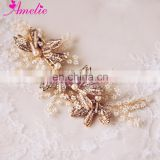 Handmade Superior Quality Wedding Hair Accessories Small Beads Alloy Crystal Leaves And Pearl Wedding Hair Side Clip Decoration