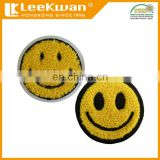 Sew-On Style and Patches Product Type Cool Sun Smile Yellow Face Chenille Patch Iron On Motor Racing Sport Round