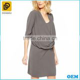 Office wear working breastfeeding nursing wrap front khaki short chiffon maternity dress clothing