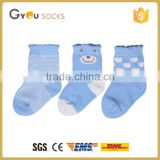 blue cute anti slip cotton socks infant child socks with stripes wholesale